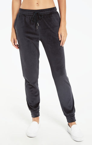 Evalyn velour joggers in onyx