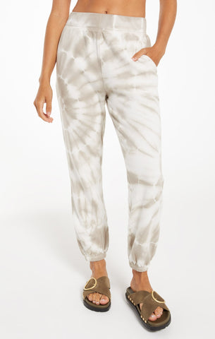 Emery spiral tie dye joggers in taupe