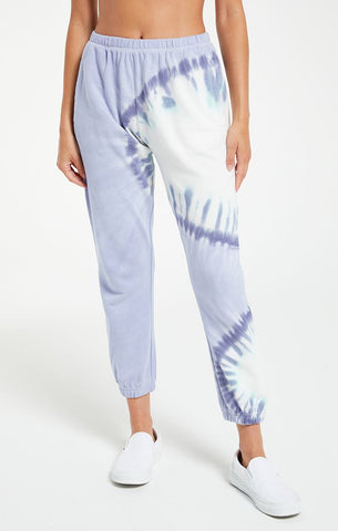 Sunburst tie dye joggers in ice blue
