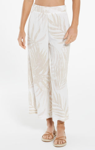 Tidepool palm flared pant in white
