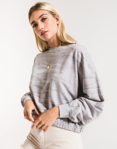 Camo relaxed pullover in heather grey