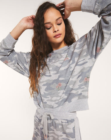 Elle rose camo long sleeve in heather grey