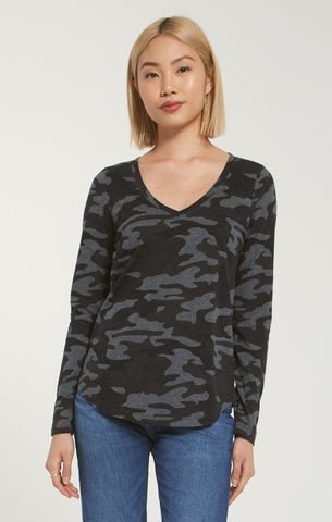 Kinney camo long sleeve top in charcoal