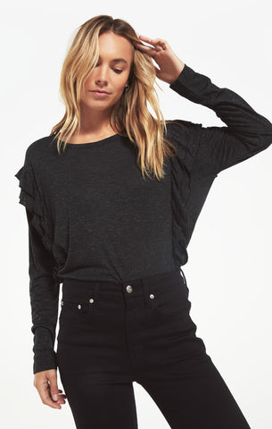 Adele sparkle ruffle top in charcoal black