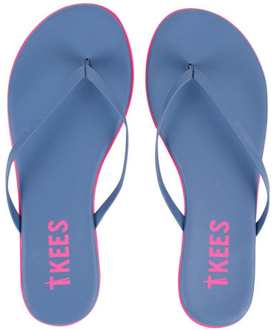 Leather flip flops in blue/pink