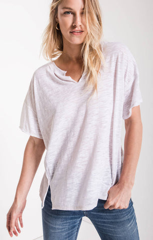 Airy slub slouchy tee in white