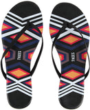 Leather flip flops in black aztec print