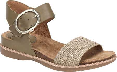Bali leather sandals in pale olive/bronze