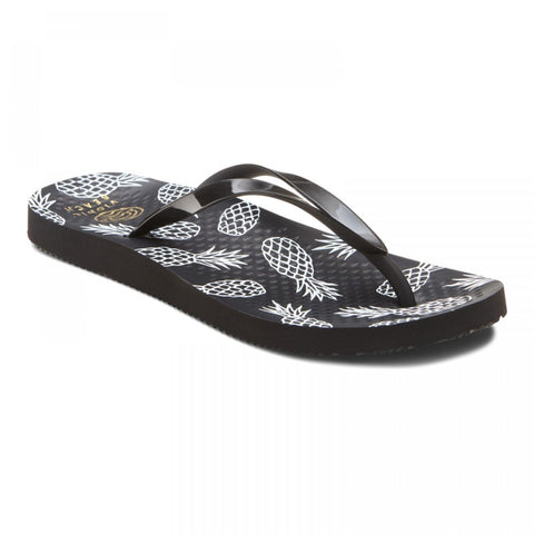 Beach Noosa black flip flops w/pineapples