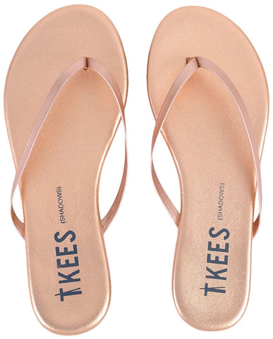 Leather flip flops in rose gold
