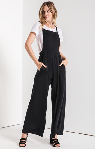 Bib front jumpsuit in black