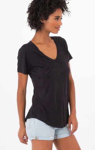 Short sleeve suede pocket tee in black