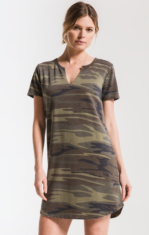 Split neck dress in green camo