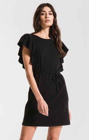 Capri ruffle sleeve dress in black