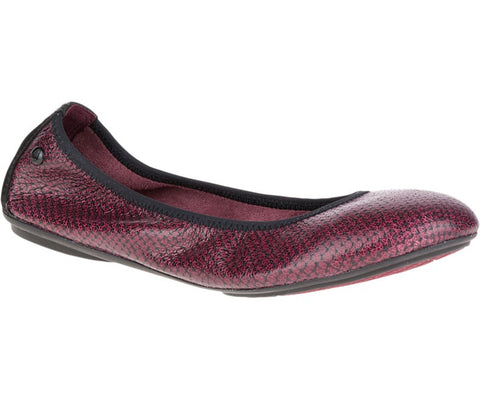 Chase leather ballet flats in wine snake print