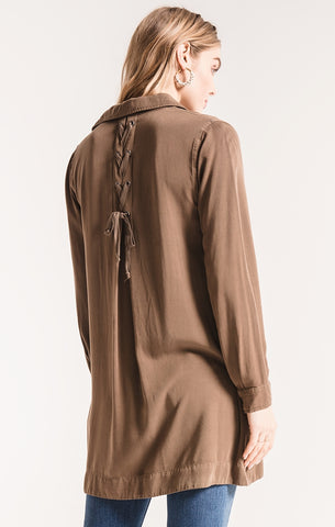 Costa lace-up shirt dress in teak