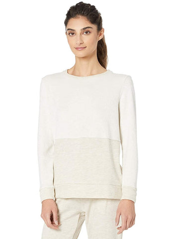 Cross paths pullover in oatmeal heather