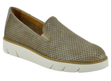 Daily perf leather slip-ons in taupe