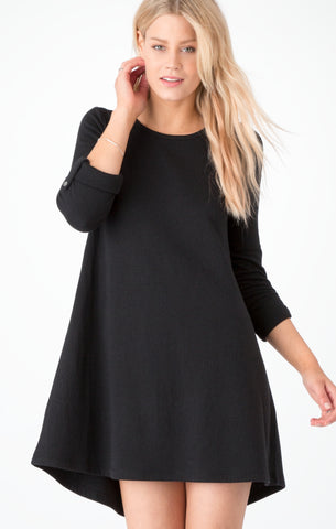 Double knit symphony dress in black