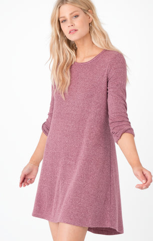 Double knit symphony dress in dark wine