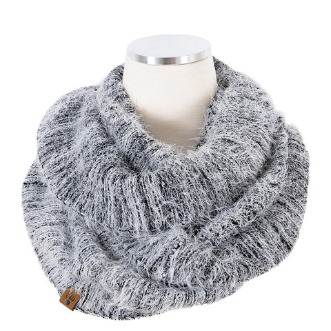 Feather yarn rib infinity scarf in grey
