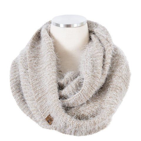 Feather yarn rib infinity scarf in tan