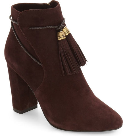 Fredi chocolate suede tassel booties
