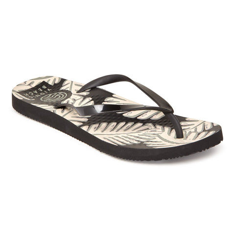 Beach Noosa black palm flip flops