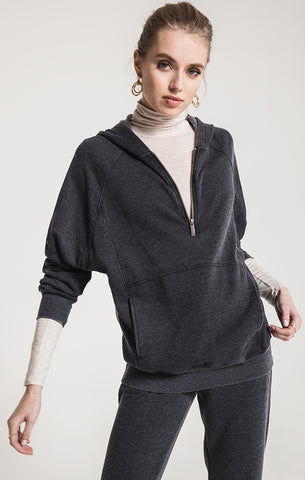 Half-zip pullover in black charcoal