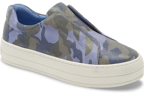 Heidi blue camo leather slip-on sneakers
