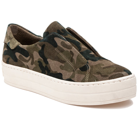Heidi green camo suede slip-on sneakers