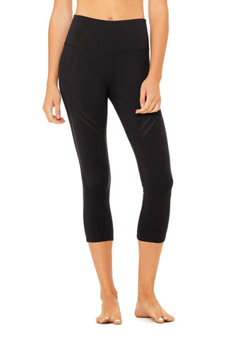 High waisted cosmic capris in black