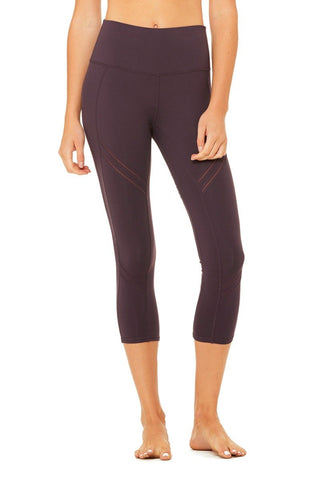 High waisted cosmic capris in eggplant