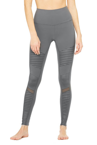 High waisted moto legging in anthracite
