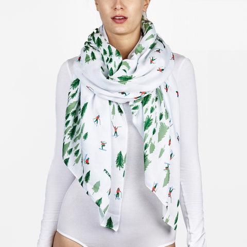 Printed Village Scarf -Skier Trails