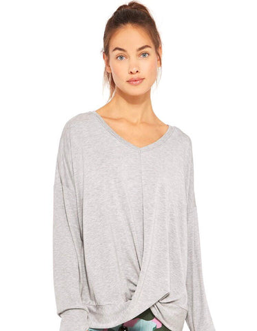 Grey ribbed twist front long sleeve top