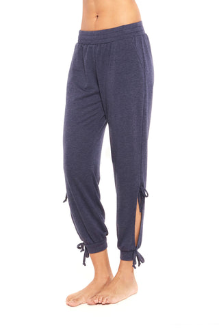 Navy heather open tie joggers
