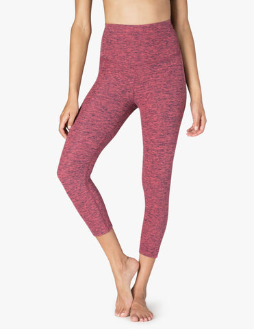 High waisted spacedye capri in rose/navy