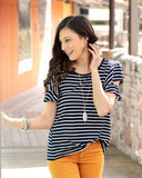 Striped ruffle sleeve tee in navy/white