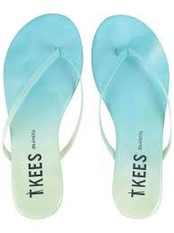 Leather flip flops in ombre (aqua to mint)
