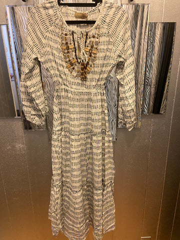 Bamboo beaded long dress in grey (Custom Collection)