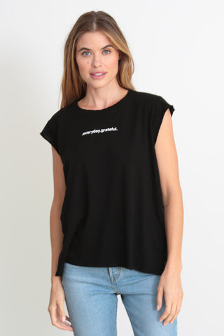"The Lani tee in black ""Everyday grateful"""