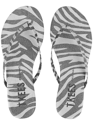 Leather flip flops in silver zebra
