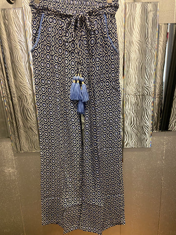 Bamboo beaded beach pants in magical blue (Custom Collection)