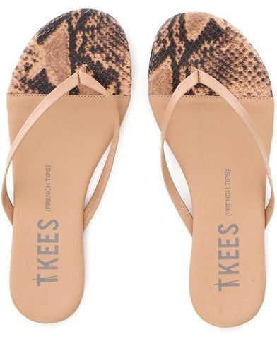 Leather flip flops in tan and snake