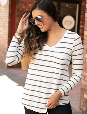 Long sleeve perfect pocket tee in ivory/charcoal stripe
