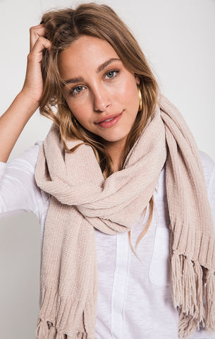 Karla chenille fringe scarf in antique cream