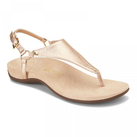 Kirra metallic rose gold t-strap sandals