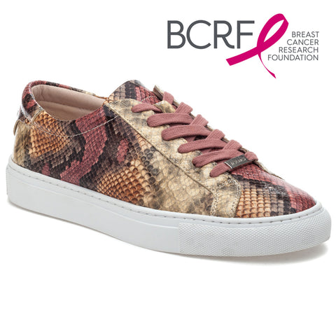 Lacee pink multi snake print lace-up sneakers