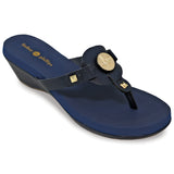 Lexi navy wedge flip flops